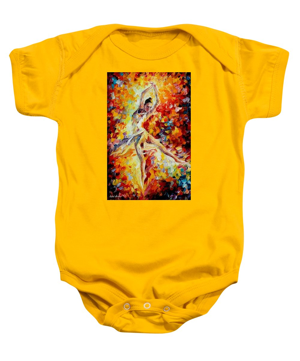 Danse Baby Onesie featuring the painting Candle Fire by Leonid Afremov