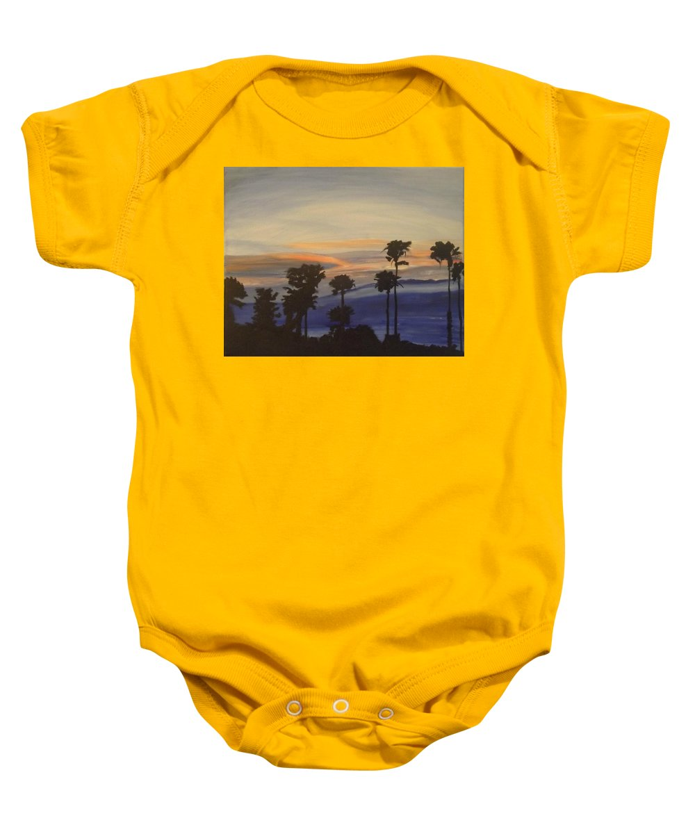 Landscape Baby Onesie featuring the painting Candy-floss Sunset by Denise Morgan