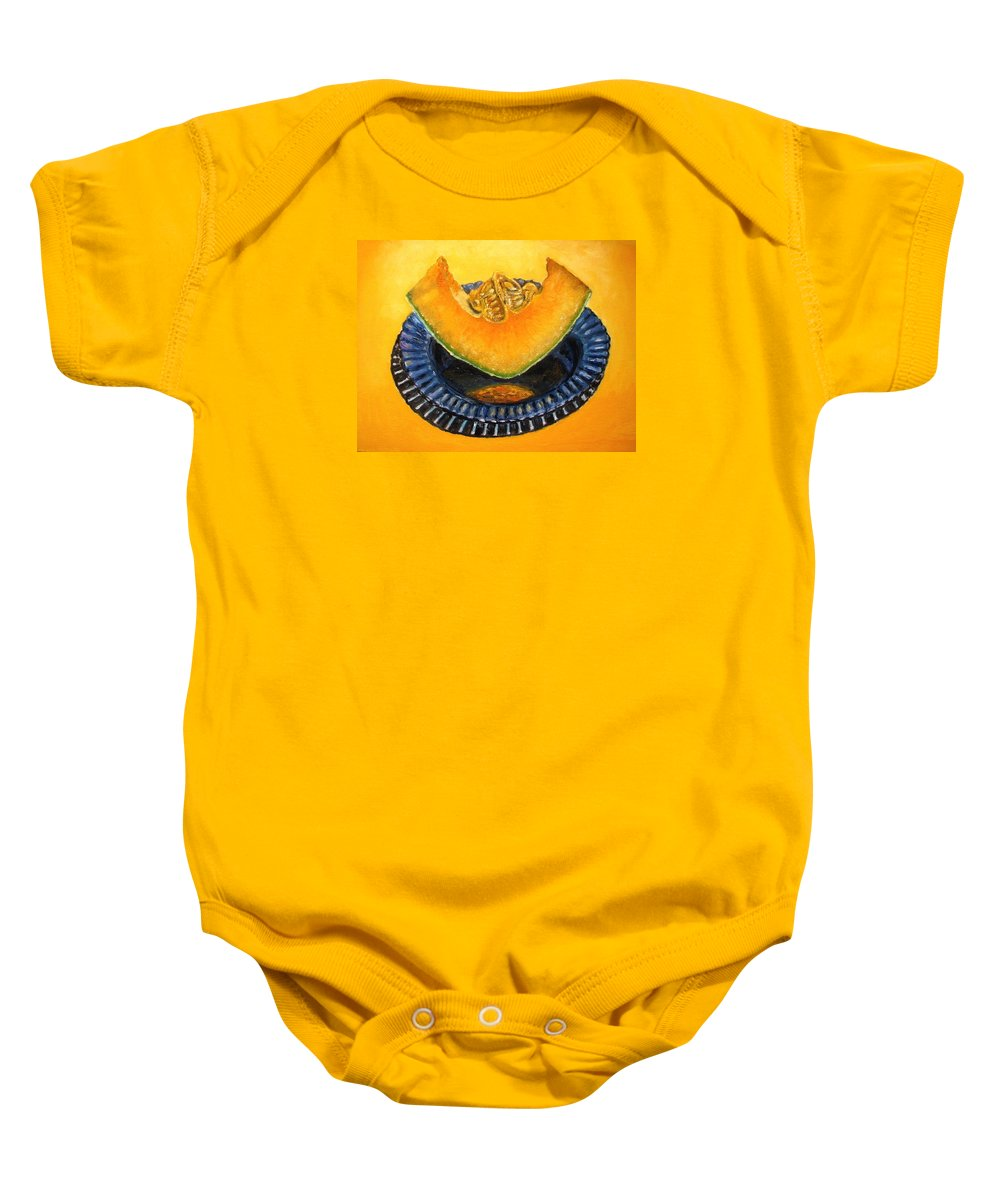 Cantaloupe Baby Onesie featuring the painting Cantaloupe Oil Painting by Natalja Picugina