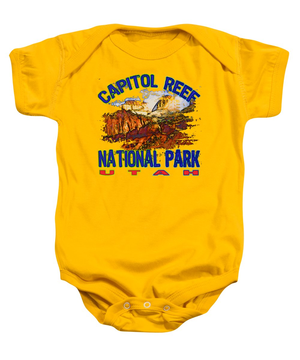Capitol Reef National Park Baby Onesie featuring the digital art Capitol Reef National Park Utah by David G Paul