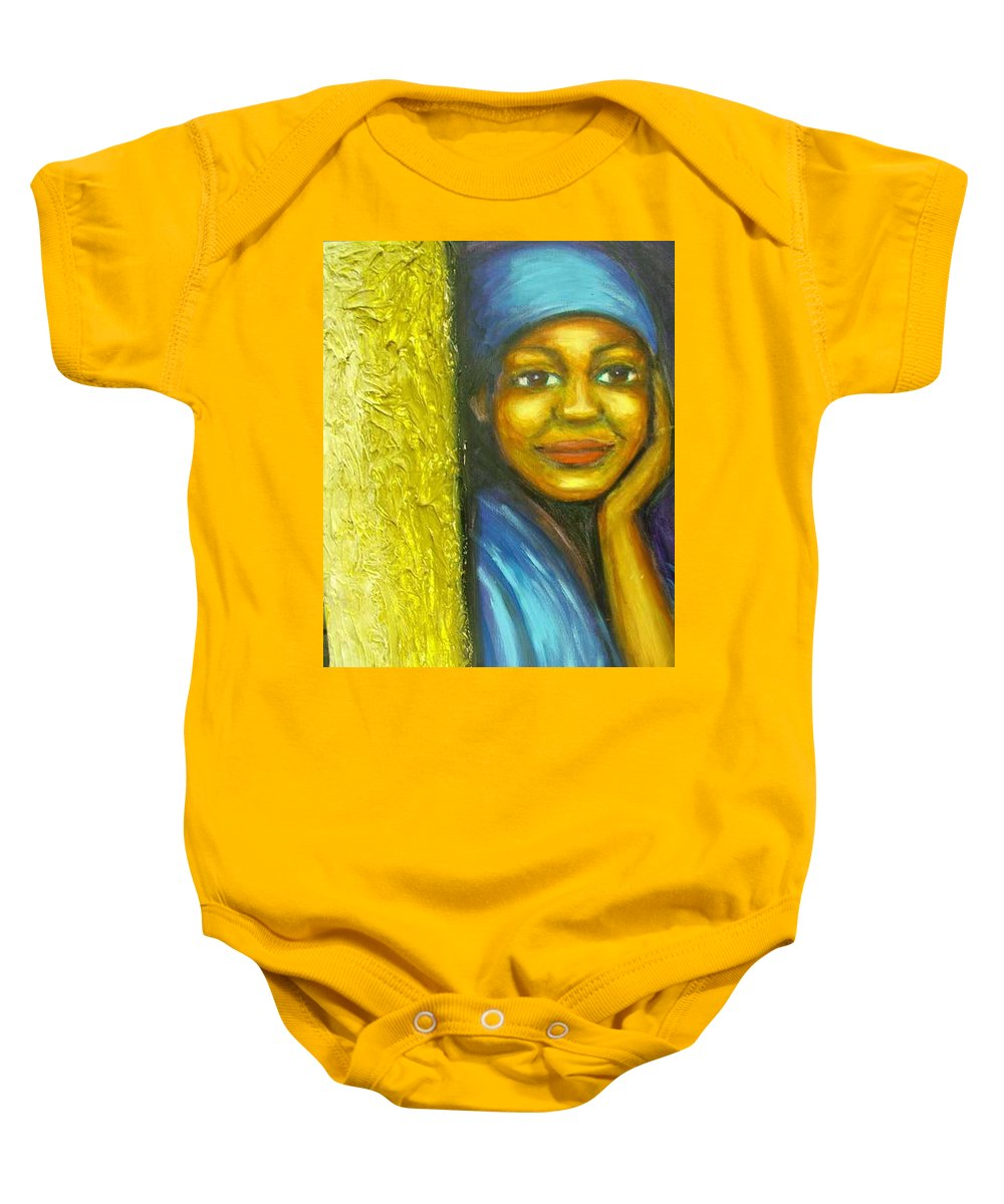 Baby Onesie featuring the painting Caribbean Mystery Lady by Jan Gilmore