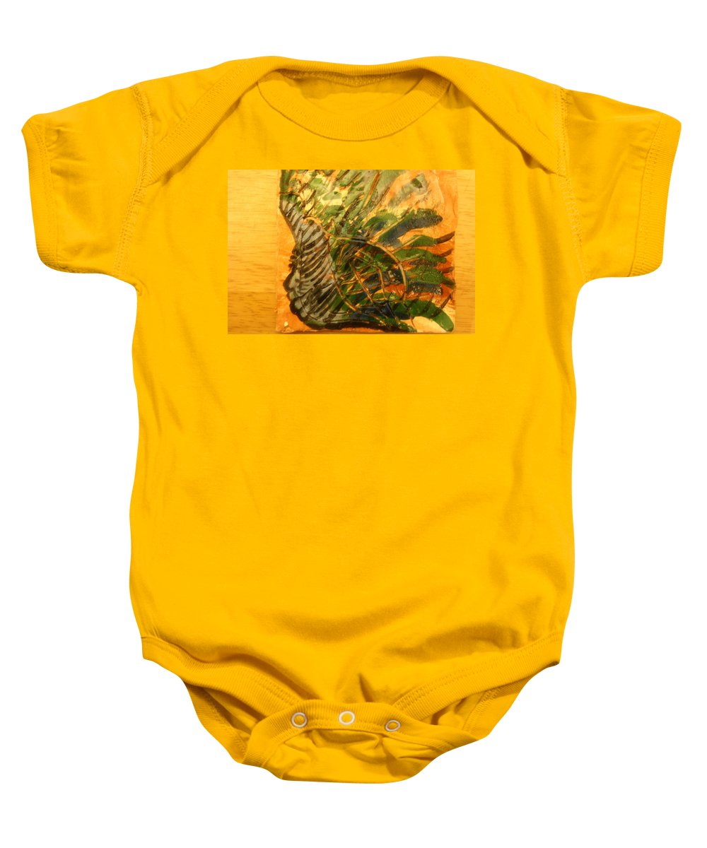 Jesus Baby Onesie featuring the ceramic art Carnival Dreams - Tile by Gloria Ssali