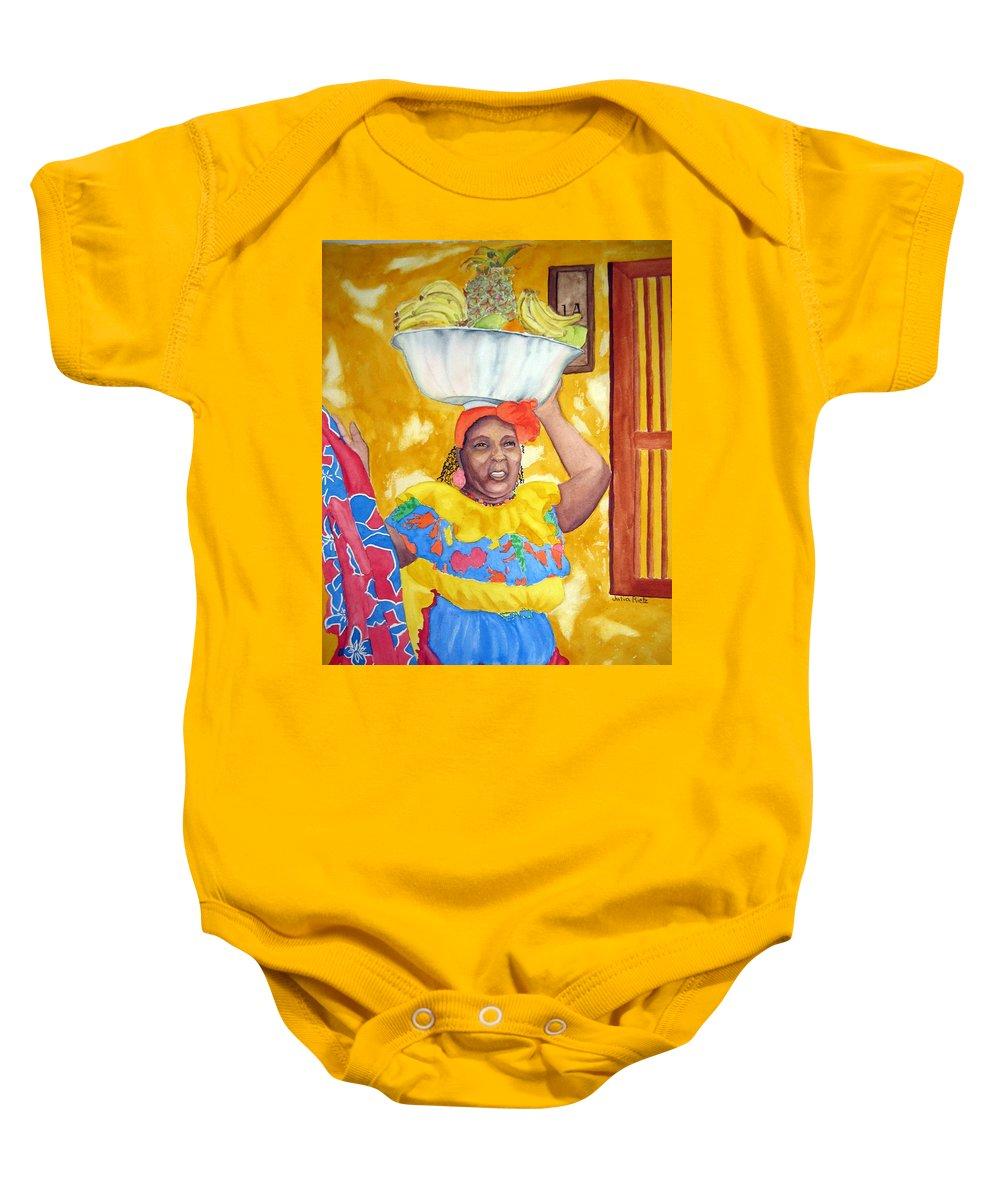 Cartagena Baby Onesie featuring the painting Cartagena Peddler II by Julia RIETZ