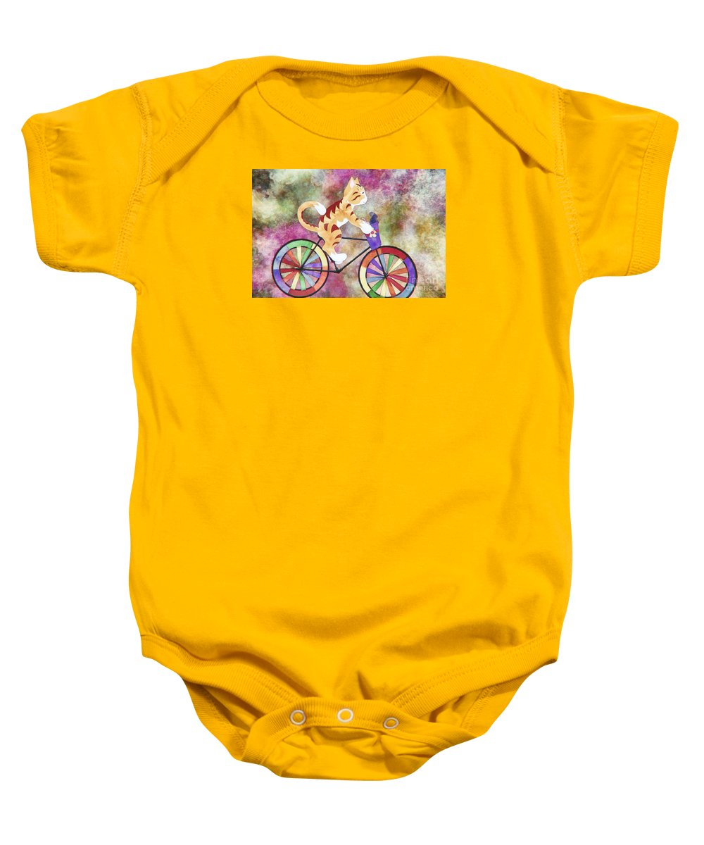 Cat Baby Onesie featuring the mixed media Cat And Mouse by Davy Cheng