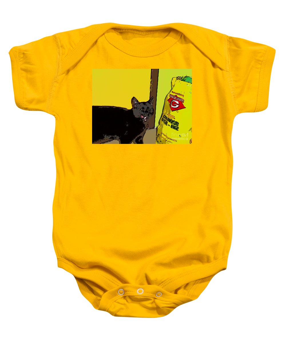 Photograph Cat Black Rice Yellow Critter Green Red Baby Onesie featuring the photograph Cat And Rice by Seon-Jeong Kim