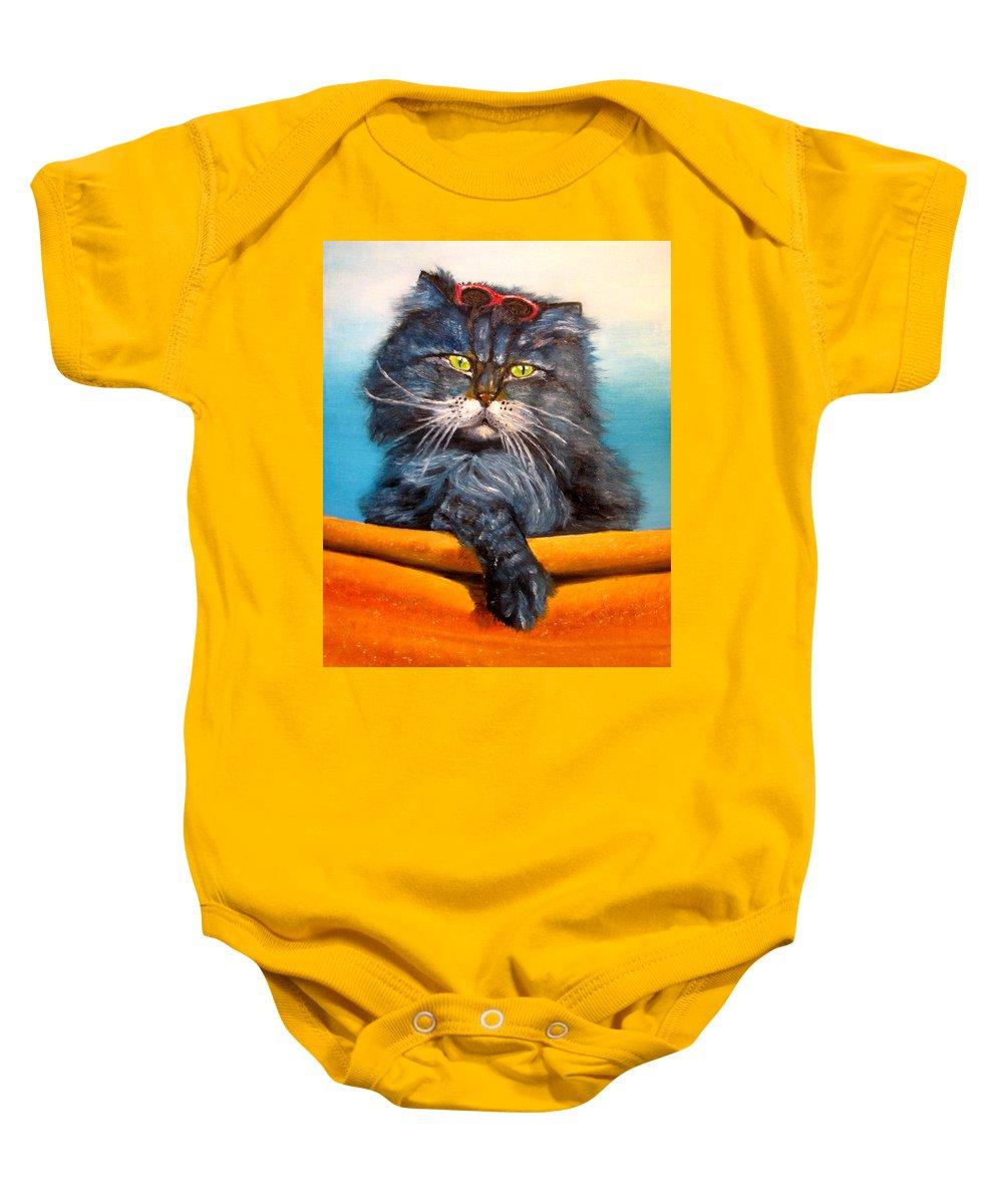 Cat Baby Onesie featuring the painting Cat.Go to swim.Original oil painting by Natalja Picugina