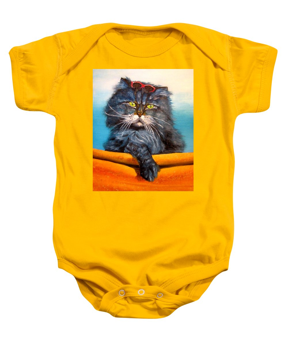 Cat Baby Onesie featuring the painting Cat.go To Swim.original Oil Painting by Natalja Picugina