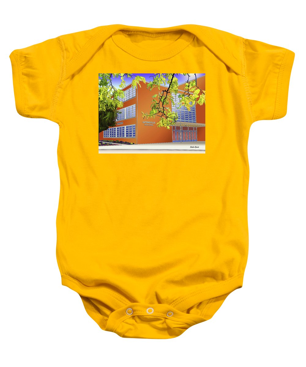 Catonsville Baby Onesie featuring the digital art Catonsville Senior High School by Stephen Younts