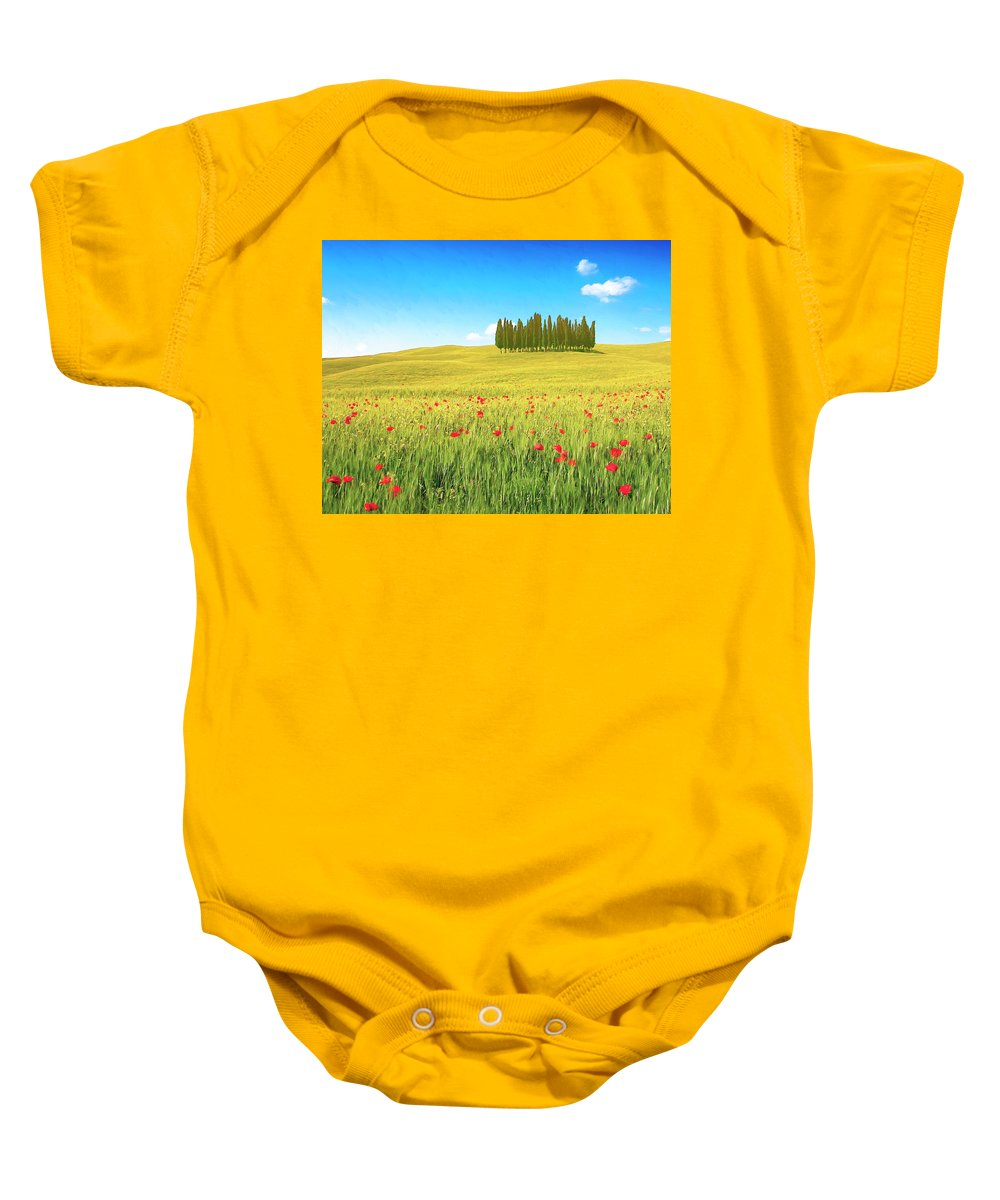 Cedar Grove Baby Onesie featuring the painting Cedar Grove And Poppies by Dominic Piperata
