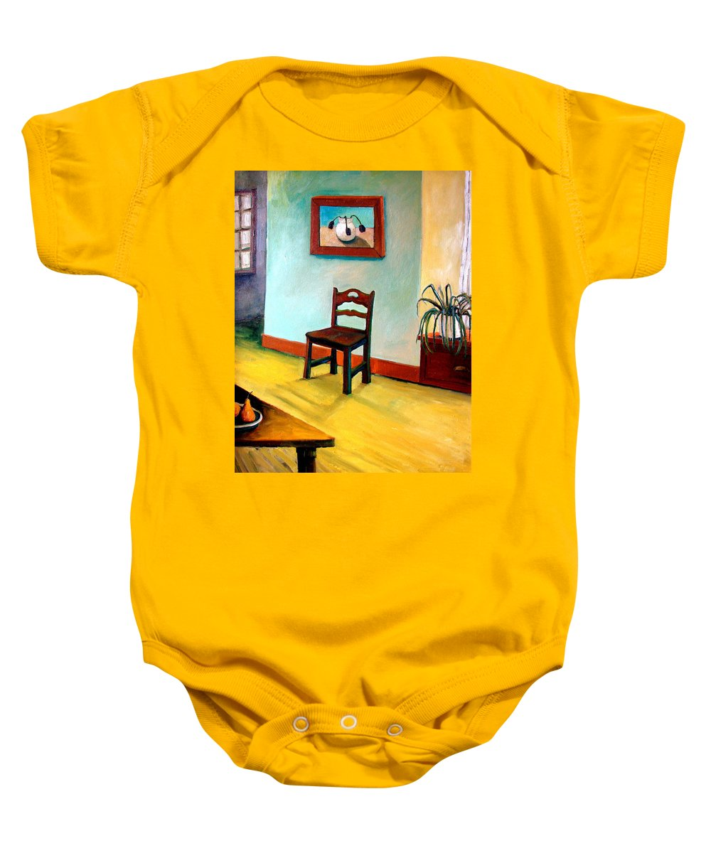Apartment Baby Onesie featuring the painting Chair And Pears Interior by Michelle Calkins