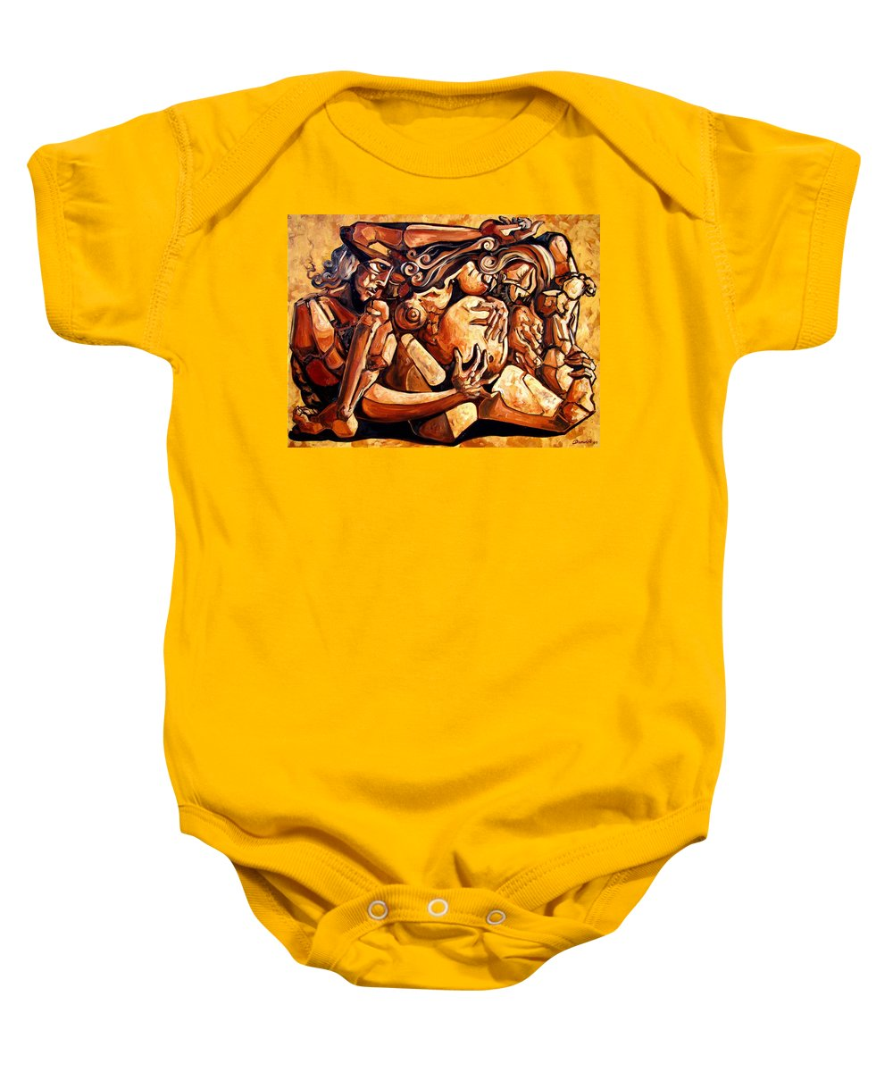 Surrealism Baby Onesie featuring the painting Chaos After The News by Darwin Leon