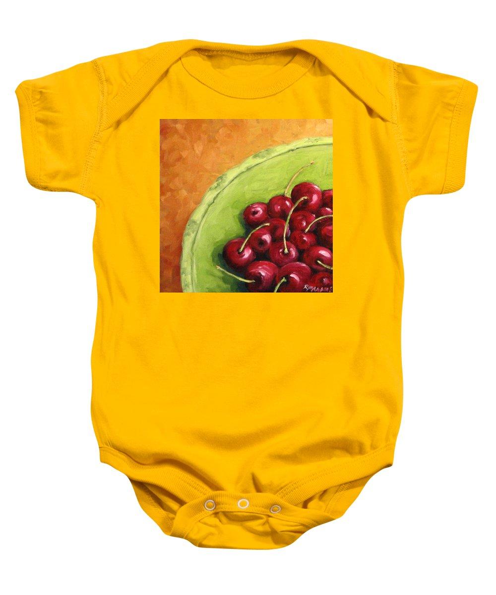 Art Baby Onesie featuring the painting Cherries Green Plate by Richard T Pranke