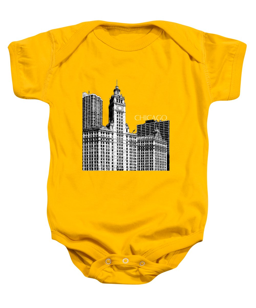 Architecture Baby Onesie featuring the digital art Chicago Wrigley Building - Salmon by DB Artist