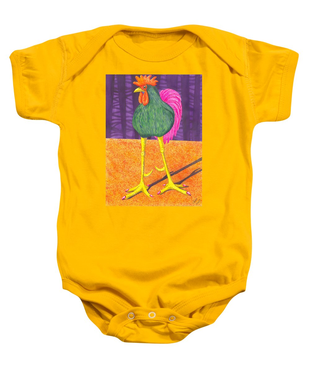 Rooster Baby Onesie featuring the painting Chicken Legs by Catherine G McElroy