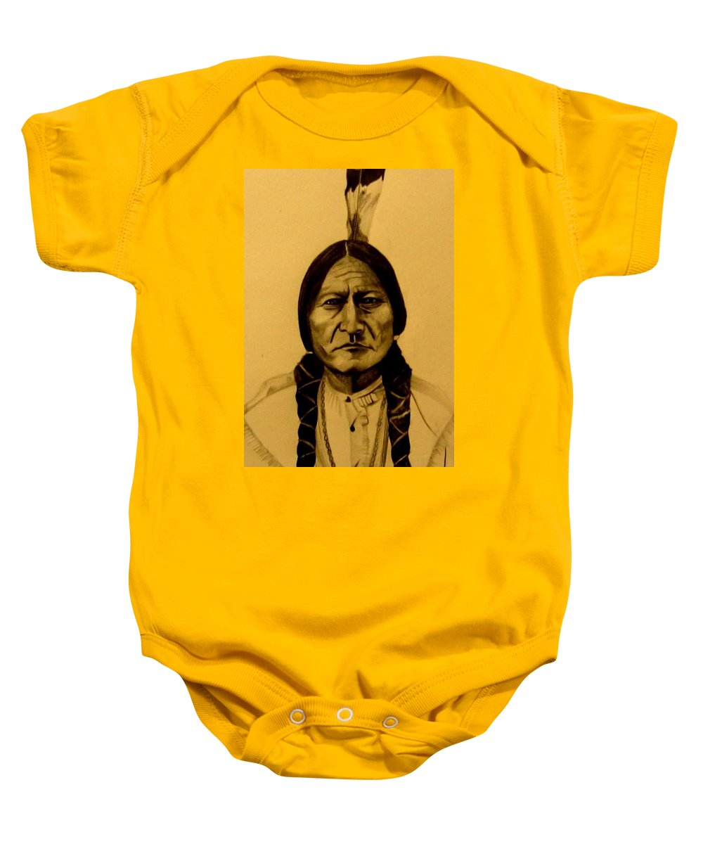 Portrait Baby Onesie featuring the drawing Chief Sitting Bull Tatanka Iyotake by Michelle Dallocchio