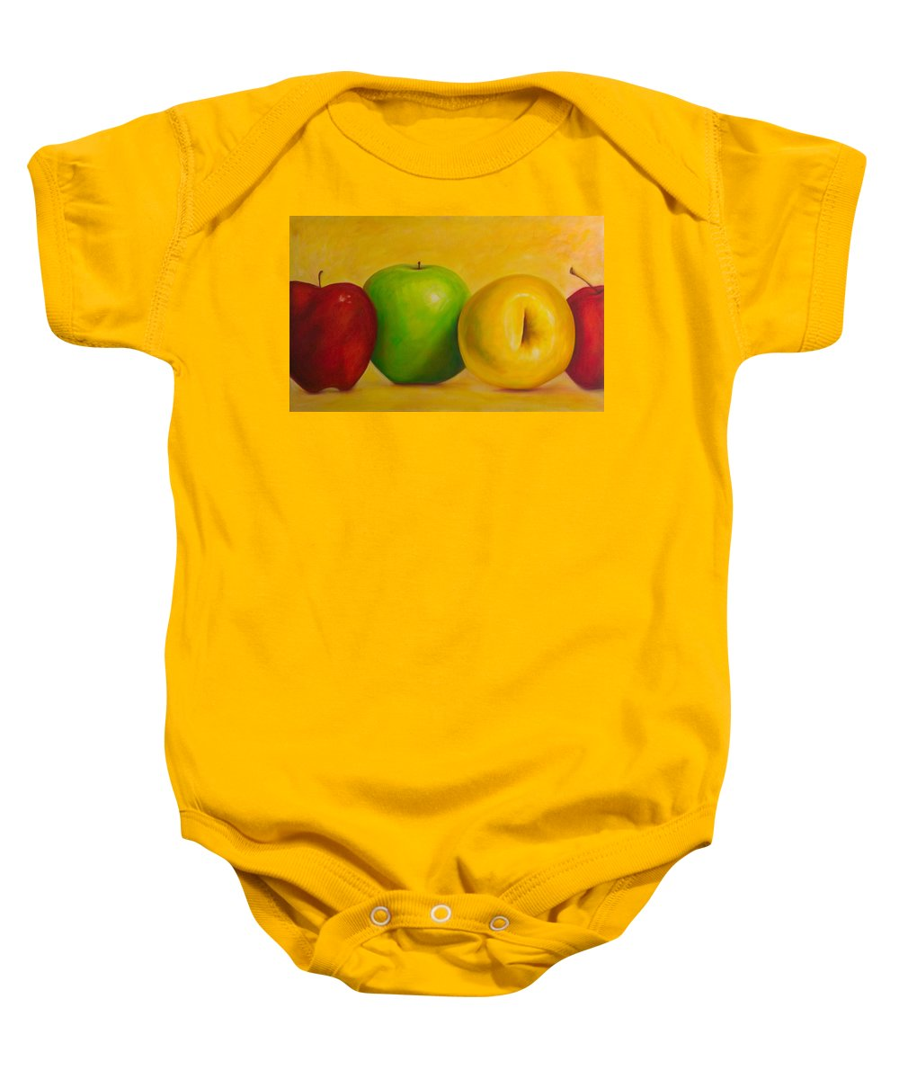 Still Life Baby Onesie featuring the painting Chorus Line by Shannon Grissom