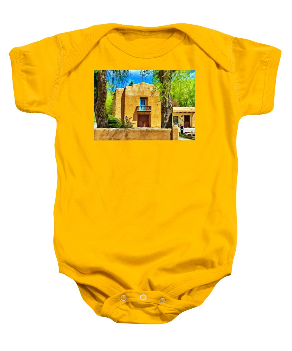 Chapel Baby Onesie featuring the painting Church With Blue Door by Jeffrey Kolker