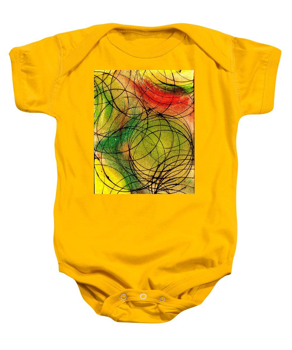 Abstract Baby Onesie featuring the painting Circles by Wayne Potrafka