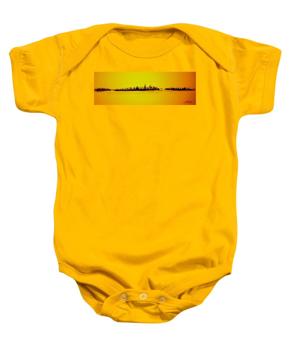 Gold Baby Onesie featuring the painting City Of Gold by Jack Diamond