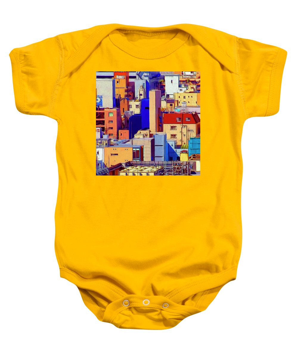 Cityscape Baby Onesie featuring the painting Cityscape by Dominic Piperata