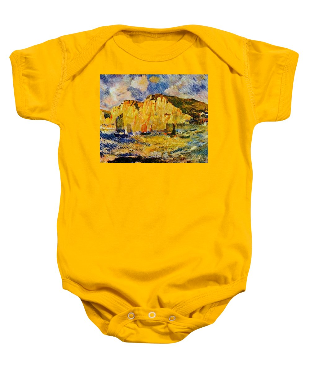 Cliffs Baby Onesie featuring the painting Cliffs 1883 by Renoir PierreAuguste
