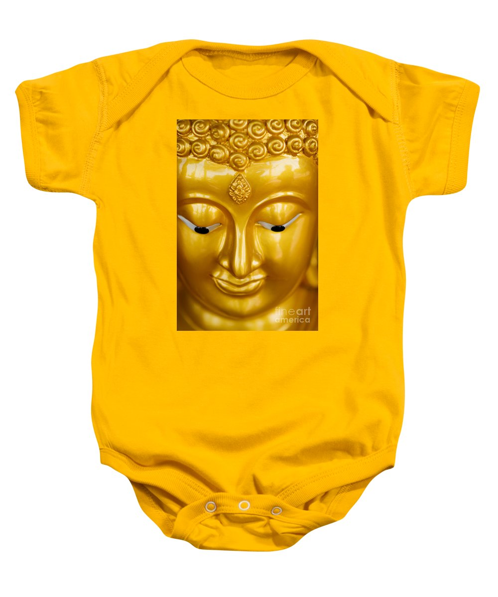 Art Baby Onesie featuring the photograph Close-up Of A Golden Buddha by Ray Laskowitz - Printscapes