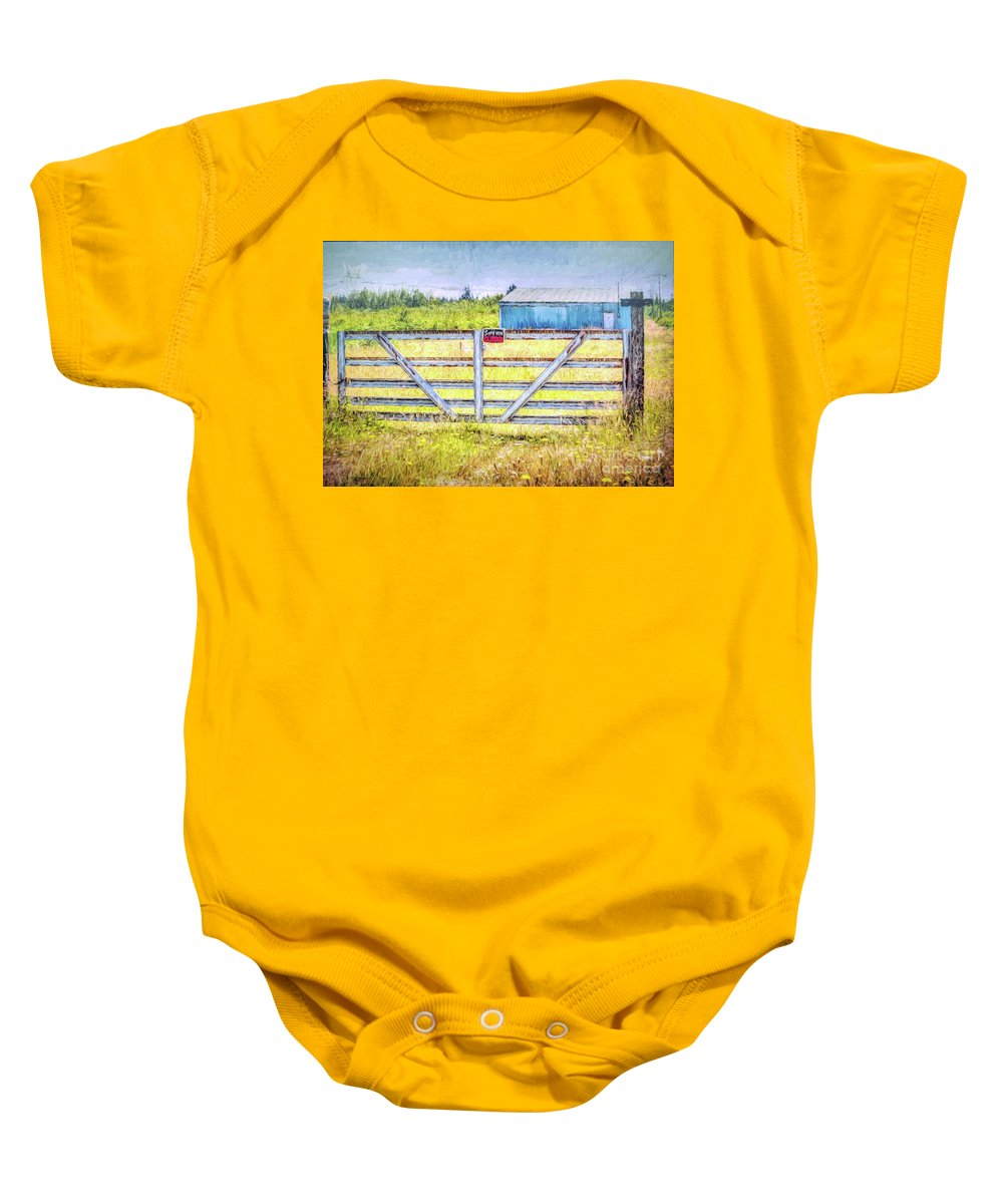 Gate Baby Onesie featuring the photograph Closed Down by Jean OKeeffe Macro Abundance Art