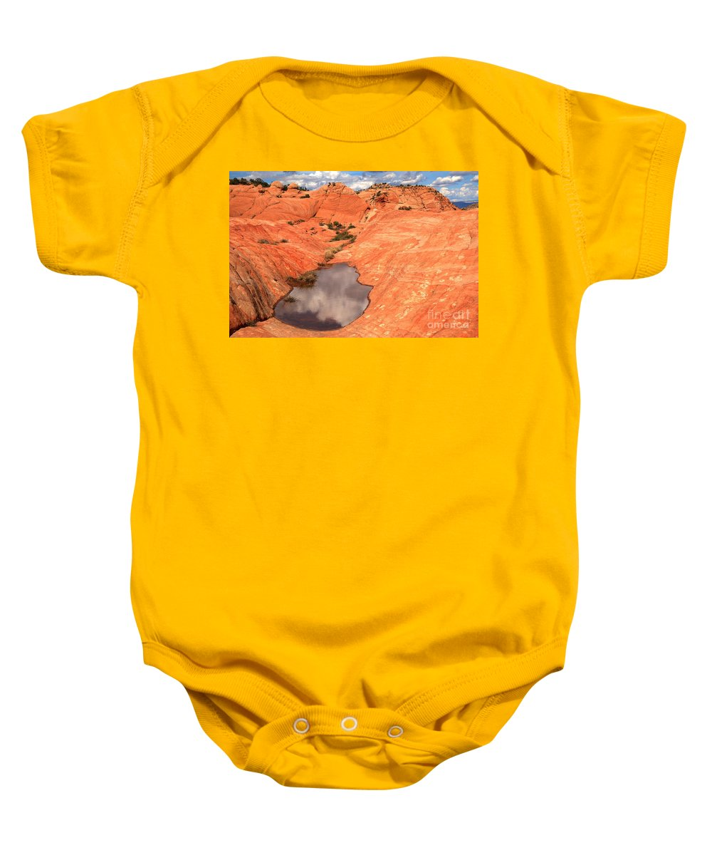 Yant Flat Baby Onesie featuring the photograph Cloud Pocket by Adam Jewell
