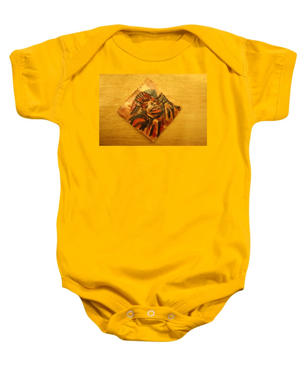 Jesus Baby Onesie featuring the ceramic art Clowning - Tile by Gloria Ssali