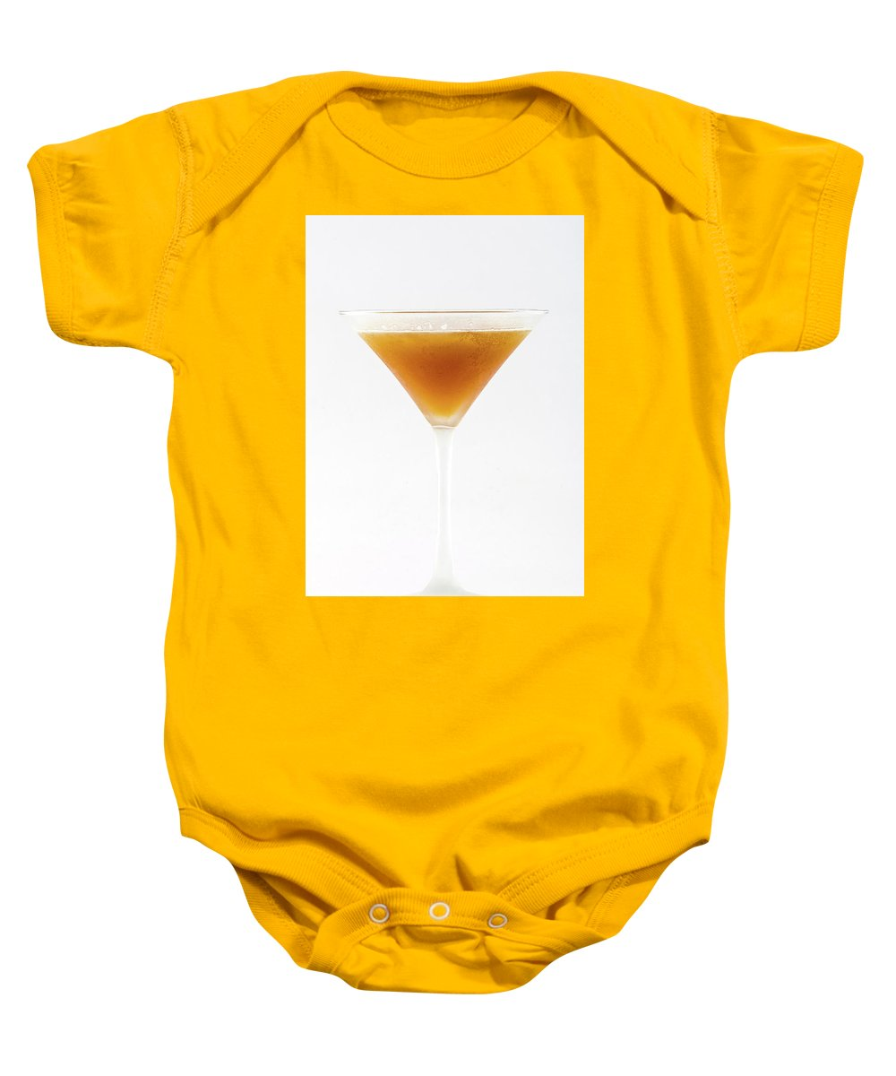 Alcohol Baby Onesie featuring the photograph Cocktail In Martini Glass Isolated by Oleg Yermolov