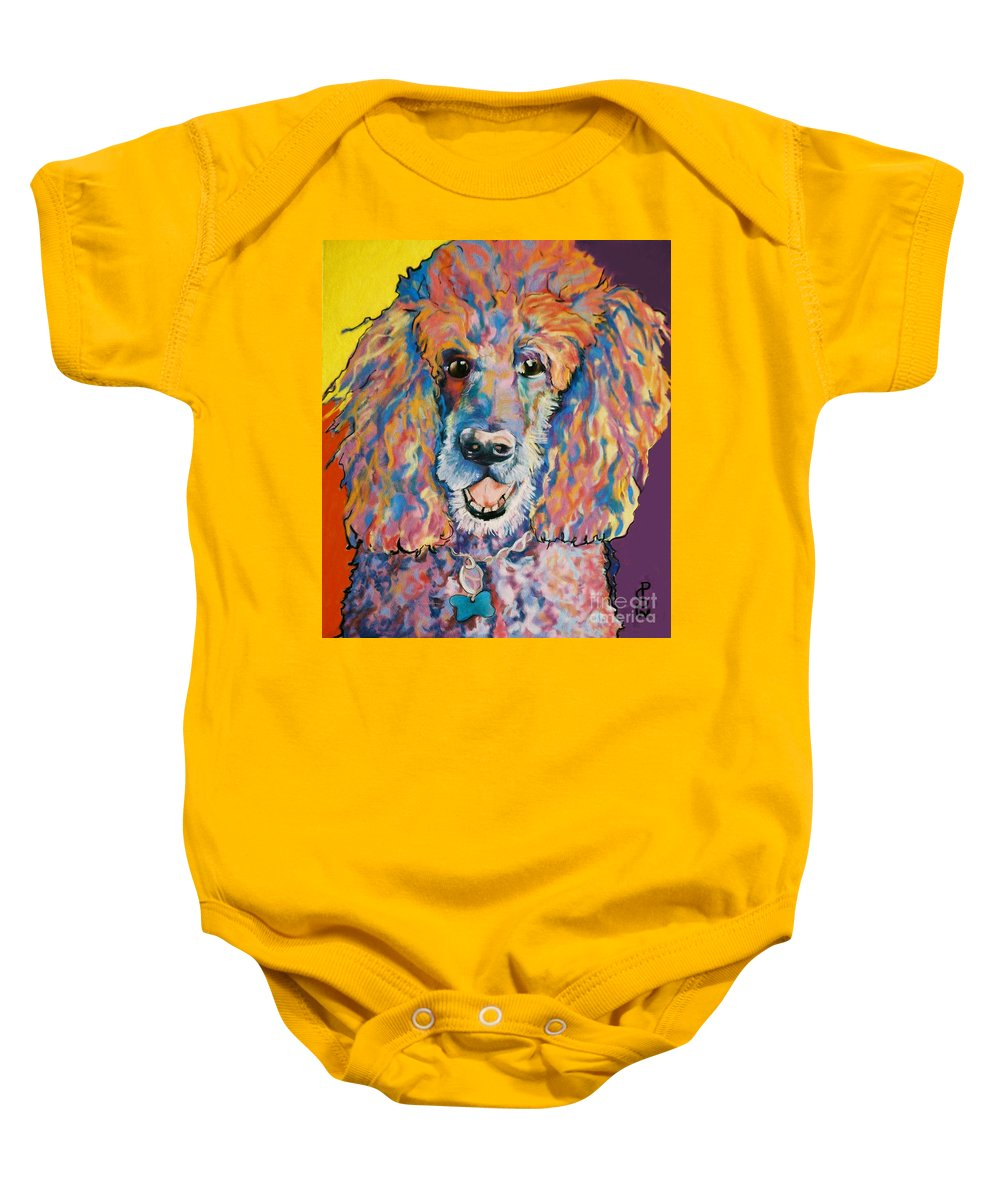 Standard Poodle Baby Onesie featuring the painting Cole by Pat Saunders-White