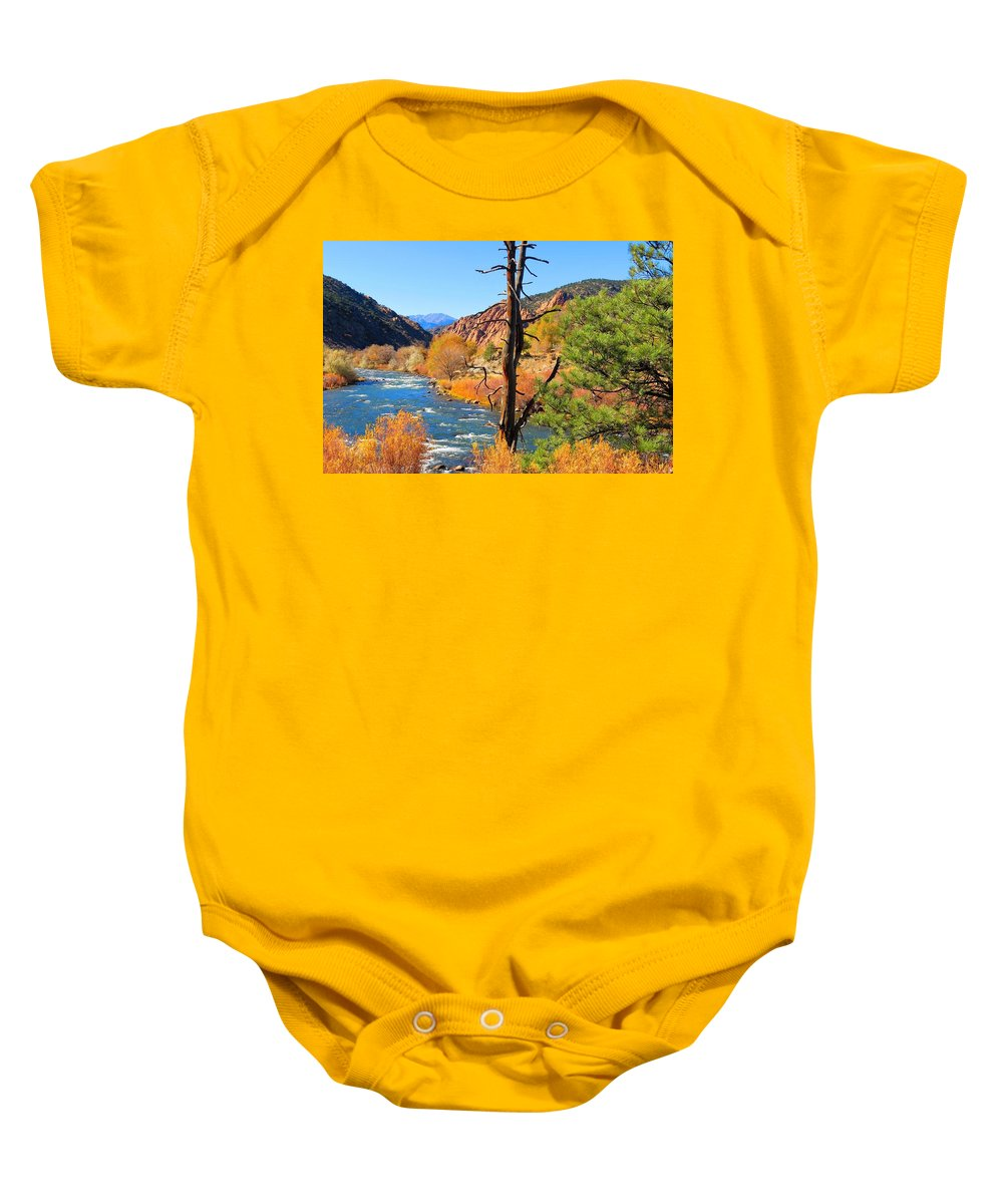 Landscape Baby Onesie featuring the photograph Colorado Fall by Connor Ehlers