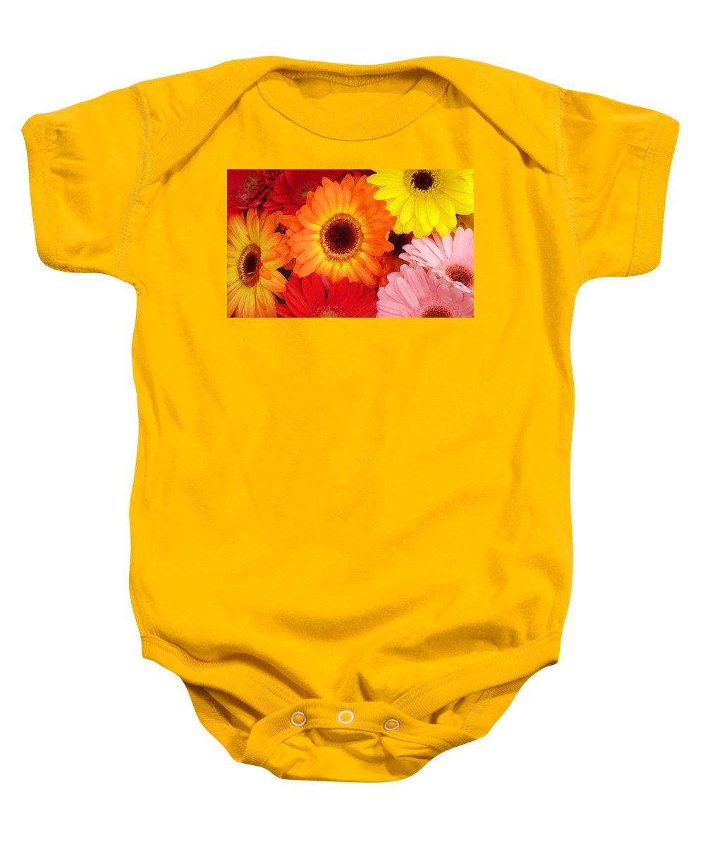 Gerber Daisy Baby Onesie featuring the painting Colorful Gerber Daisies by Amy Vangsgard