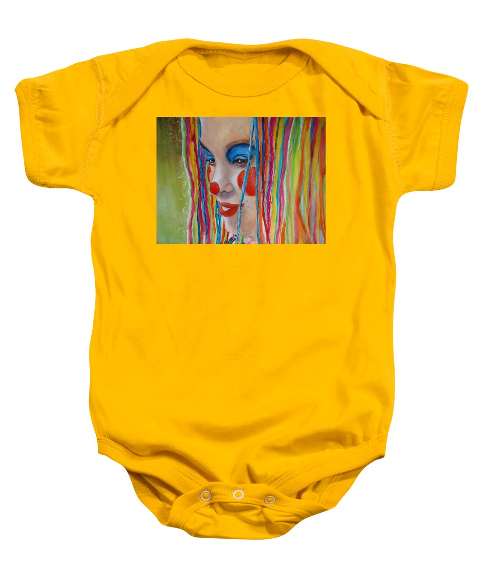 Clowns Baby Onesie featuring the painting Complementary by Myra Evans