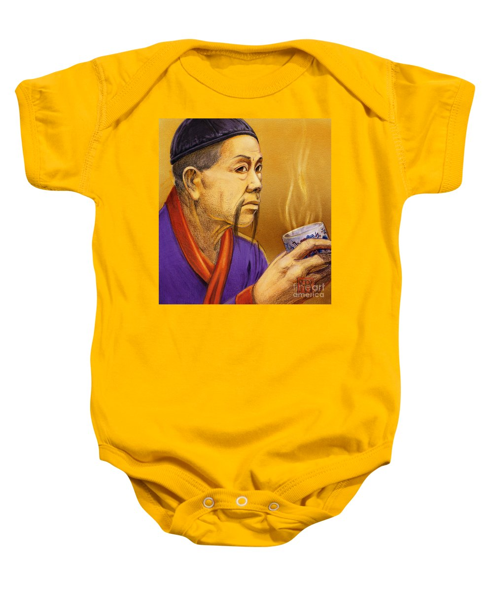 Oriental Baby Onesie featuring the painting Confucian Sage by Melissa A Benson
