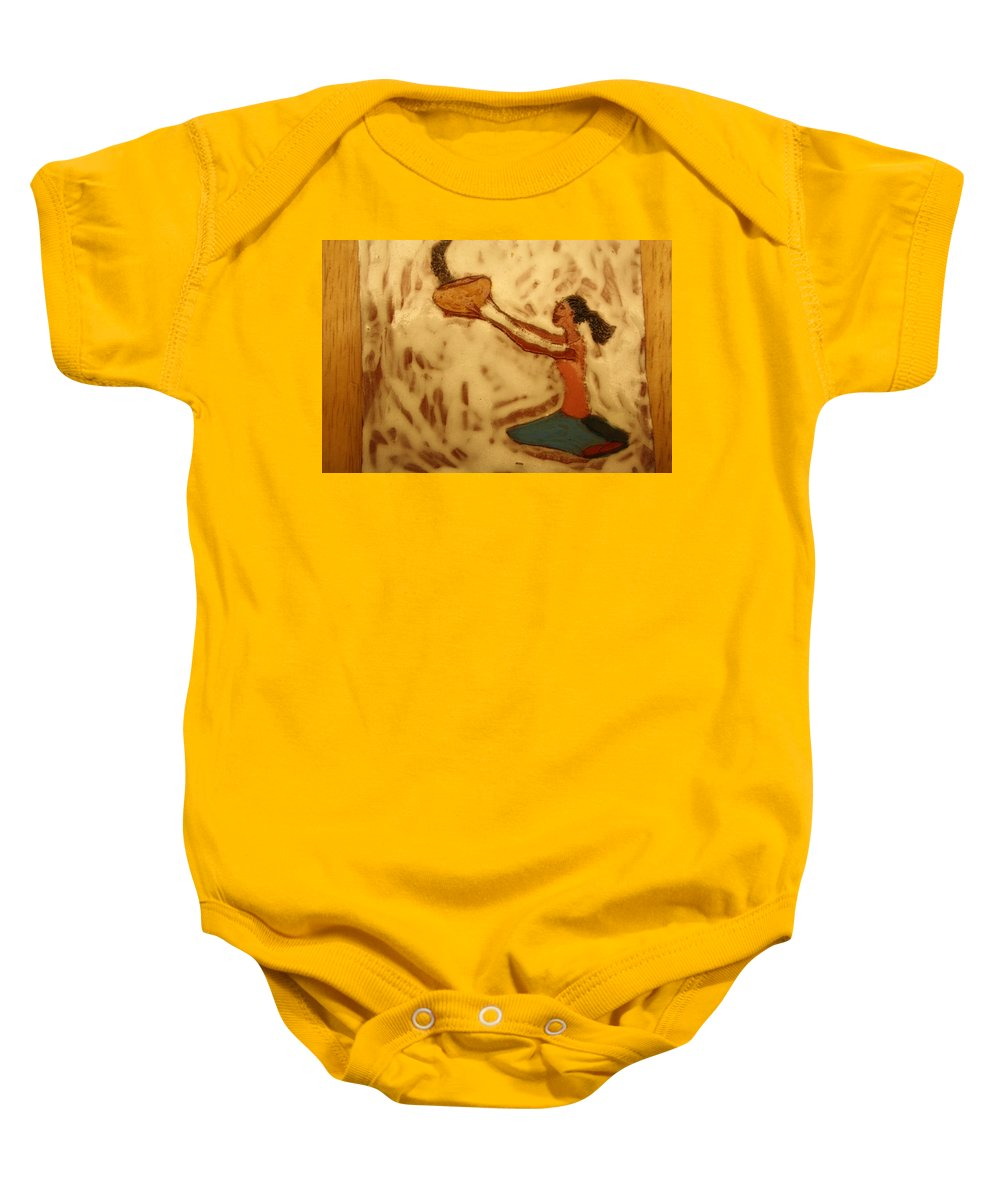 Jesus Baby Onesie featuring the ceramic art Contentment - Tile by Gloria Ssali