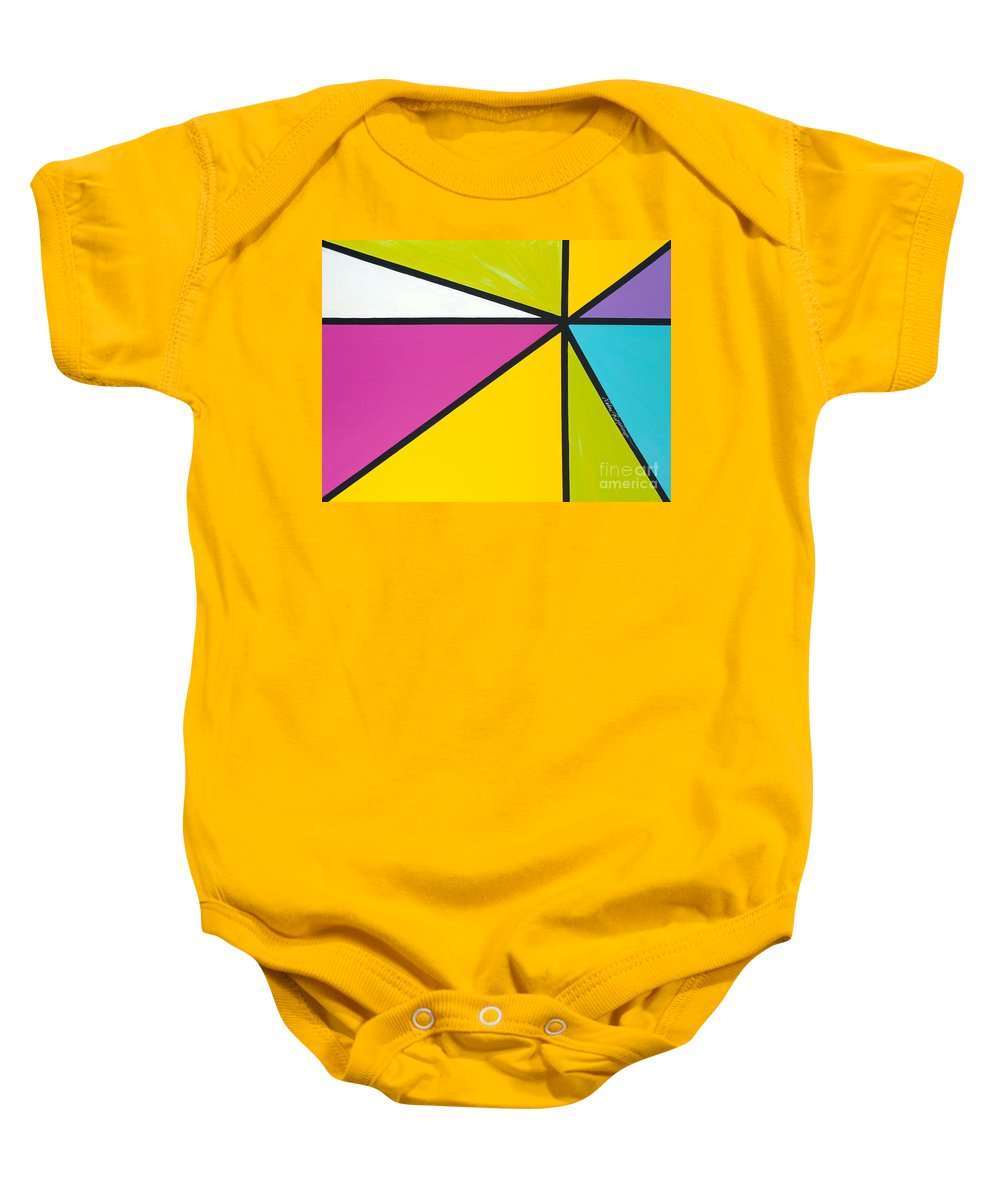 Lines Baby Onesie featuring the painting Convergence by Nadine Rippelmeyer