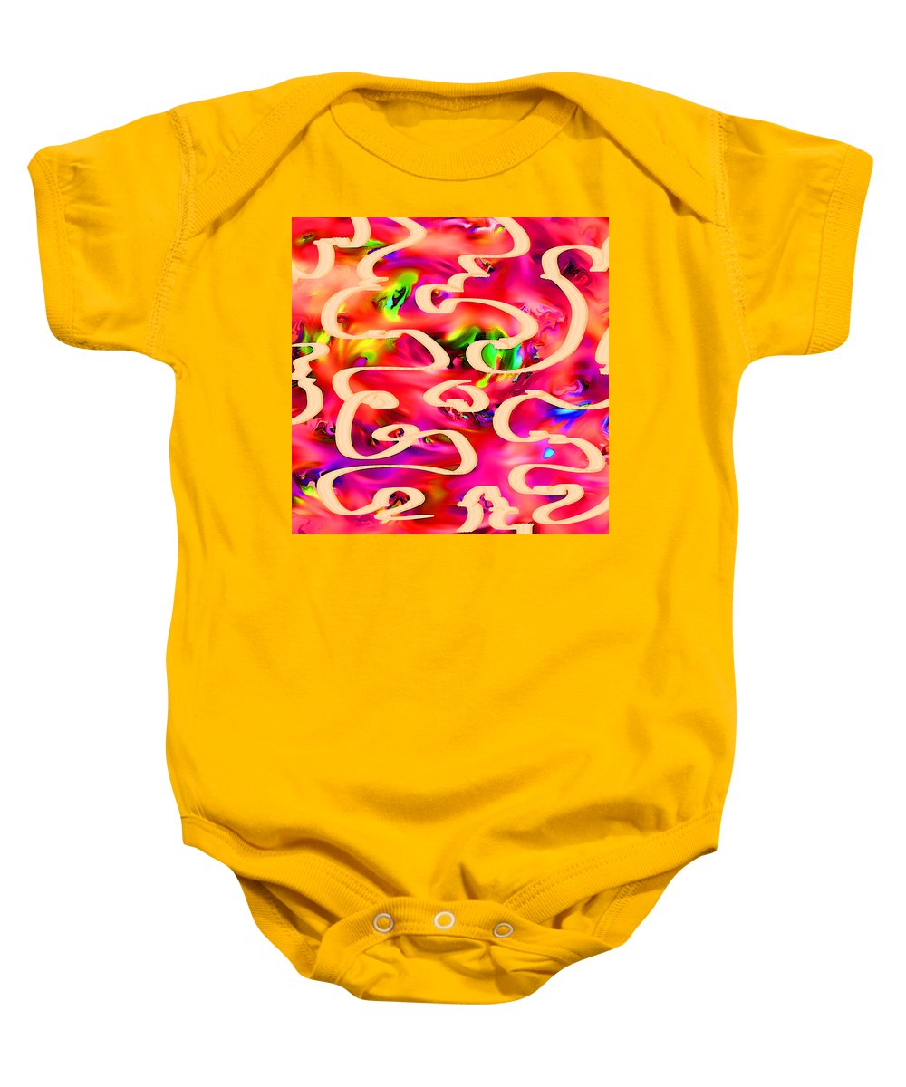 Abstract Baby Onesie featuring the digital art Cool Colors by Rachel Christine Nowicki