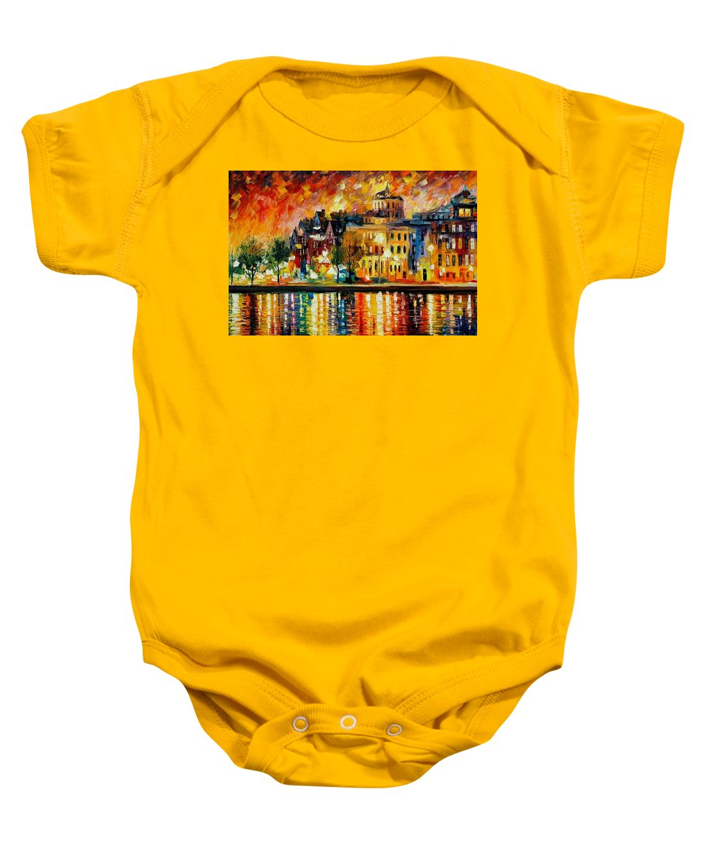 City Baby Onesie featuring the painting COPENHAGEN Original Oil Painting by Leonid Afremov