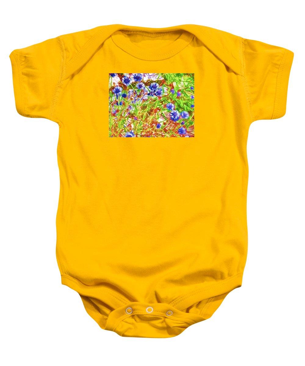 Cornfield With Cornflowers Baby Onesie featuring the painting Cornfield With Cornflowers by Jeelan Clark