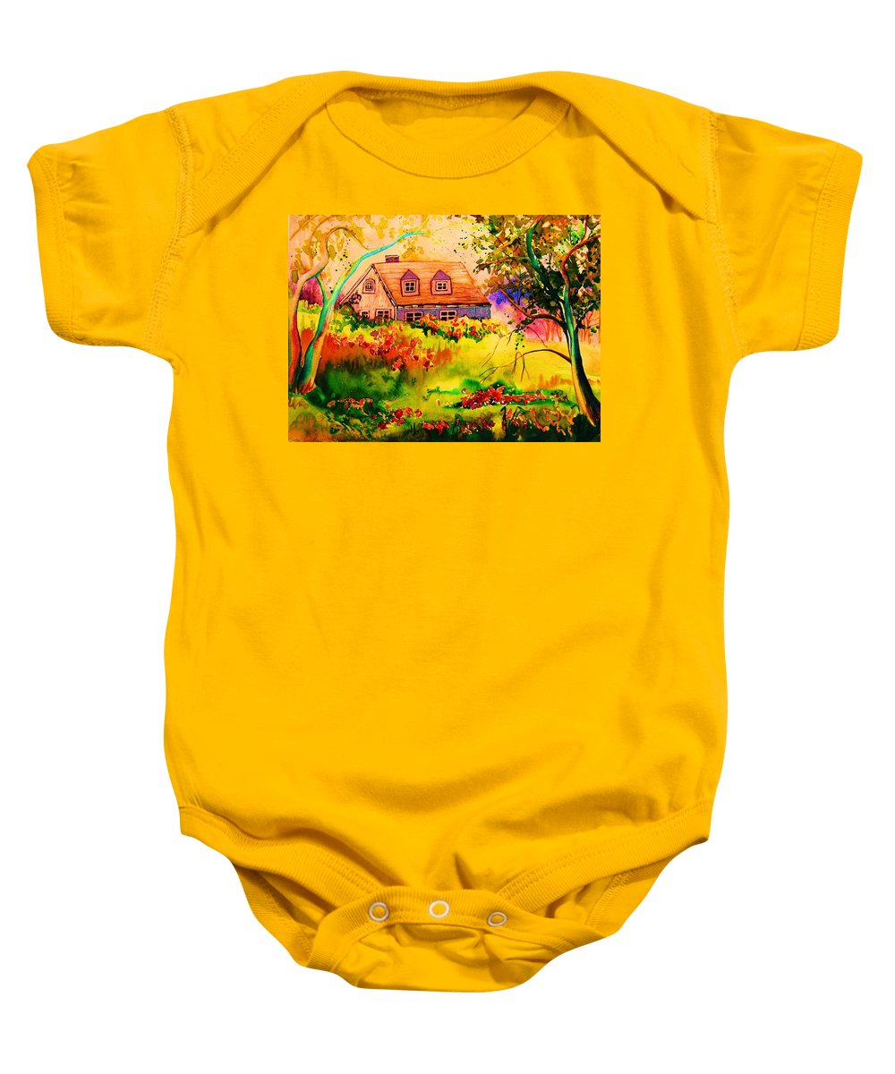 Maine Countryscene Baby Onesie featuring the painting Cottage In Maine by Carole Spandau