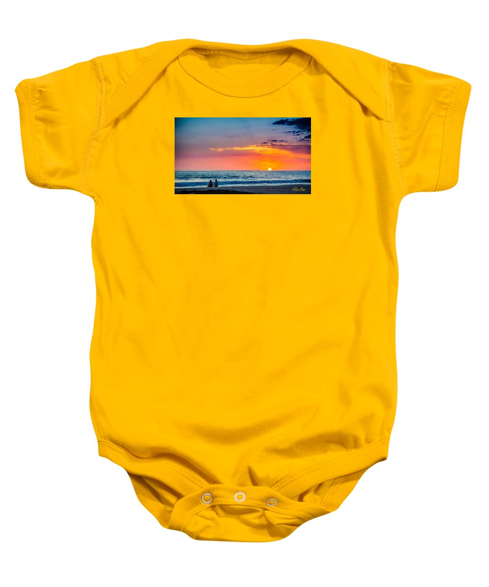 Beach Baby Onesie featuring the photograph Couple At Sunset by Rikk Flohr