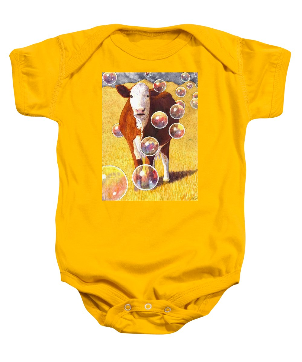 Cow Baby Onesie featuring the painting Cow Bubbles by Catherine G McElroy