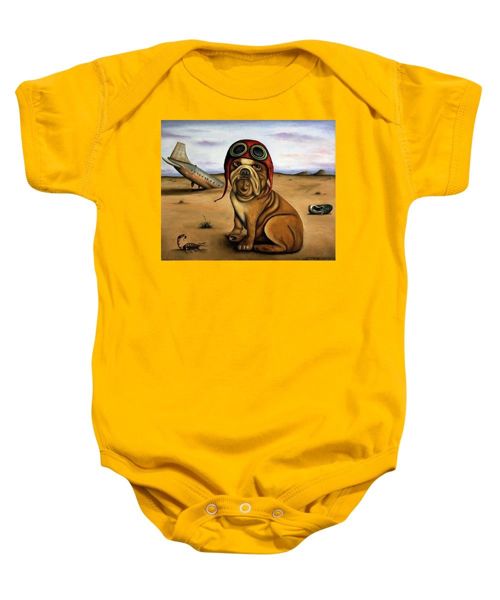 Plane Baby Onesie featuring the painting Crash by Leah Saulnier The Painting Maniac