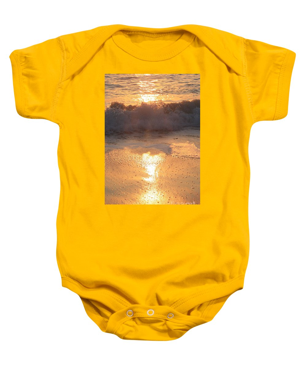 Waves Baby Onesie featuring the photograph Crashing Wave At Sunrise by Nadine Rippelmeyer