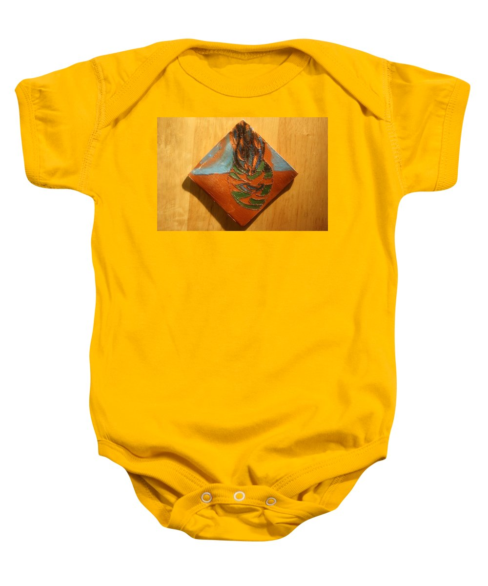 Jesus Baby Onesie featuring the ceramic art Crazy Pineapple - Tile by Gloria Ssali