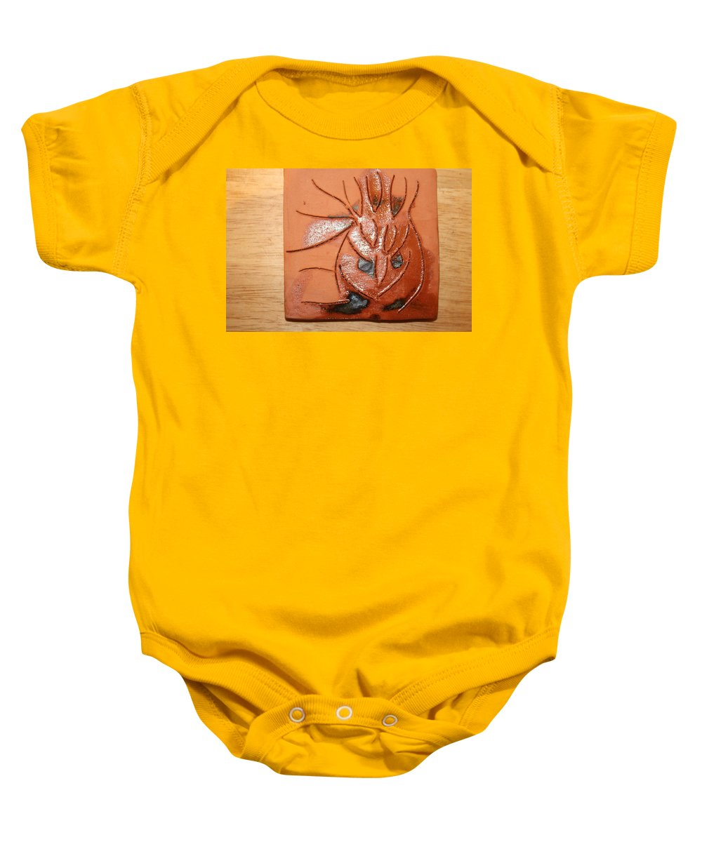 Jesus Baby Onesie featuring the ceramic art Crazy Pineapple by Gloria Ssali