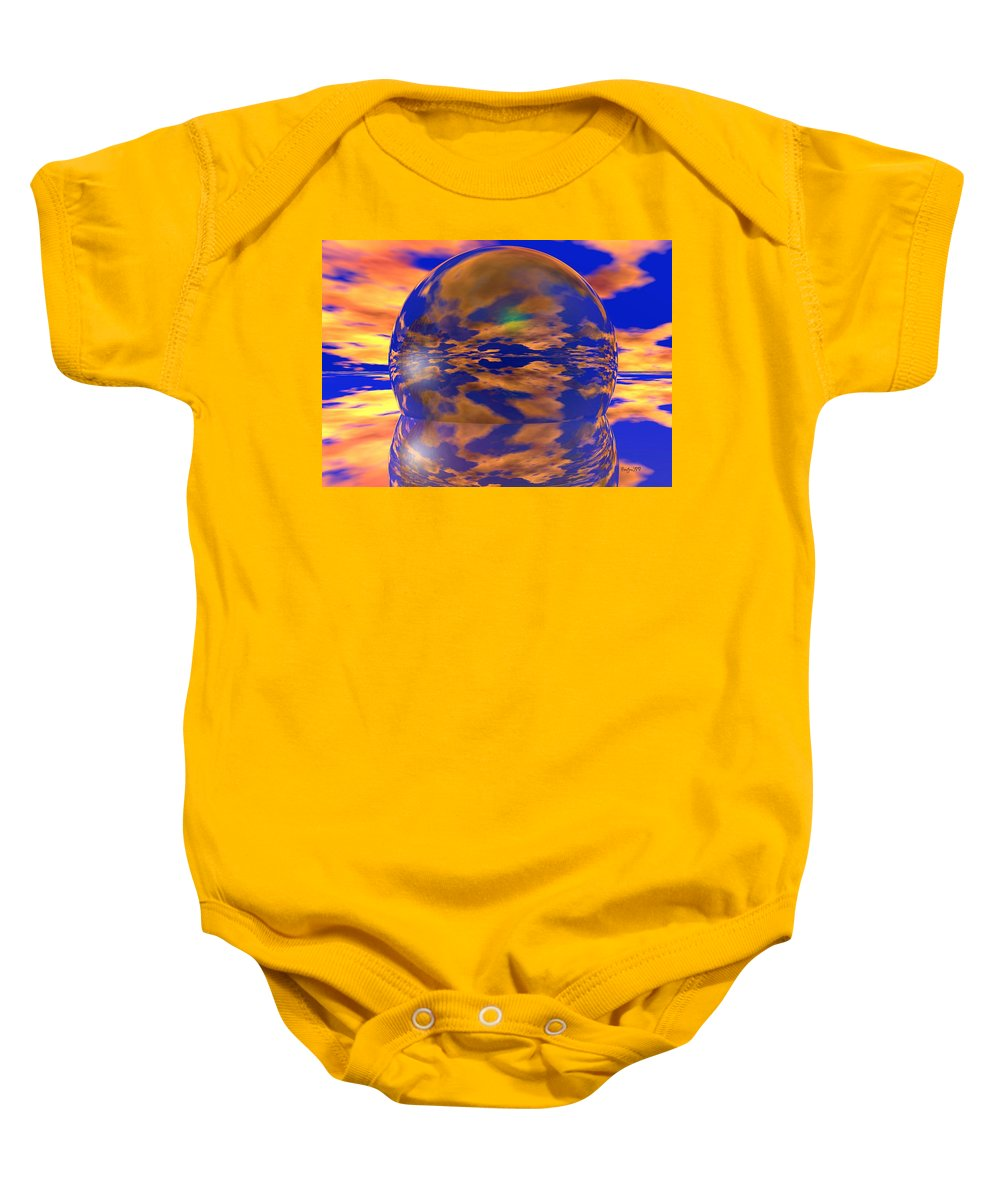 Ball Baby Onesie featuring the digital art Crystal Ball by Robert Orinski