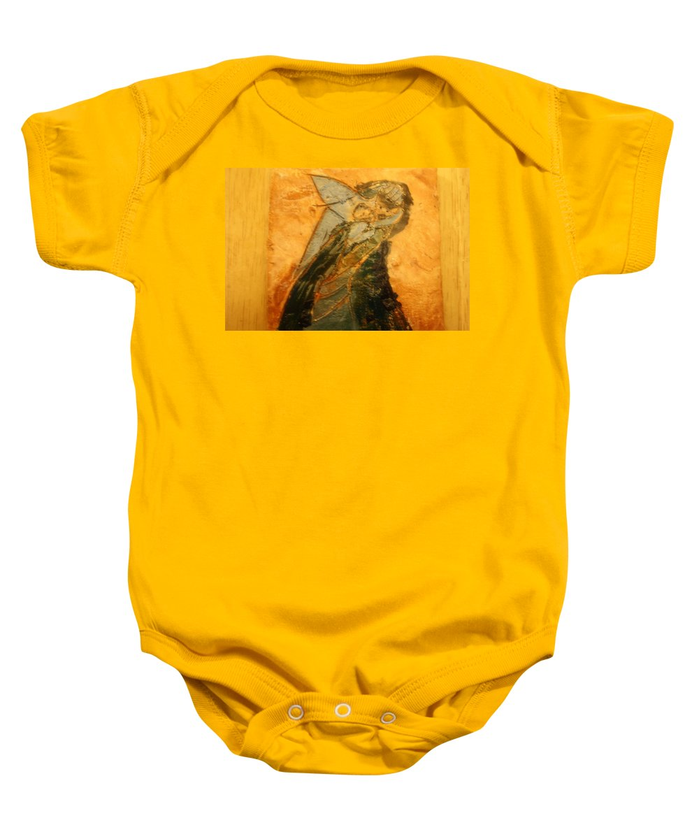 Jesus Baby Onesie featuring the ceramic art Dads Hug - Tile by Gloria Ssali