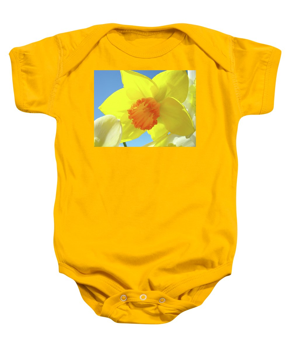 �daffodils Artwork� Baby Onesie featuring the photograph Daffodil Flowers Artwork 18 Spring Daffodils Art Prints Floral Artwork by Baslee Troutman